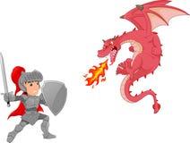 Cavaliere con il fumetto arrabbiato del drago Immagine Stock