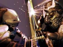 Cavaliere contro il samurai illustrazione di stock