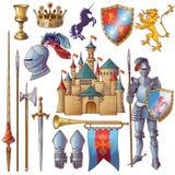 Cavaliere Decorative Icons Set Immagini Stock Libere da Diritti