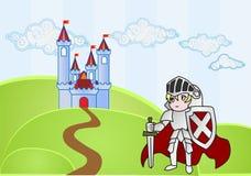 Cavaliere del bambino con il castello su fondo Immagine Stock