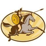Cavaliere del cavallo del guerriero di Amazon di valchiria Fotografia Stock