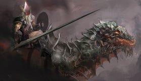 Cavaliere del drago illustrazione di stock