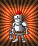 Cavaliere della cartolina del fumetto Armatura d'acciaio reale del crociato sulle luci rosse brillanti fotografia stock