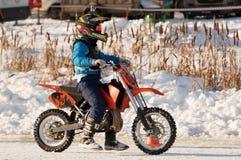 Cavaliere della gara motociclistica su pista Immagine Stock Libera da Diritti
