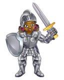 Cavaliere della ragazza del fumetto Fotografia Stock