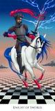 Cavaliere delle spade, carta di tarocchi Fotografia Stock