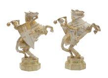 Cavaliere di medio evo con il giocattolo del cavallo Immagine Stock