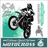 Cavaliere di motocross - emblema e logos di vettore royalty illustrazione gratis