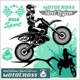 Cavaliere di motocross - emblema e logos di vettore Immagine Stock Libera da Diritti