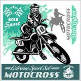 Cavaliere di motocross - emblema e logos di vettore Fotografia Stock Libera da Diritti