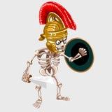 Cavaliere di scheletro con la spada e lo schermo Fotografie Stock Libere da Diritti