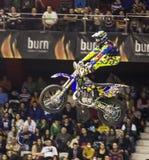 Cavaliere di stile libero della motocicletta Fotografie Stock