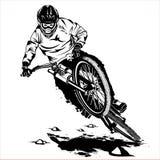 Cavaliere in discesa del mountainbike illustrazione vettoriale