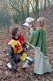 Cavaliere e domestica coraggiosi Fotografie Stock Libere da Diritti