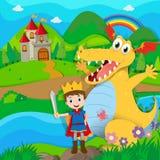 Cavaliere e drago sulla terra leggiadramente Immagine Stock