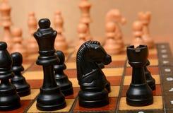 Cavaliere e re neri di colore sul fondo della scacchiera Immagini Stock Libere da Diritti