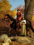 Cavaliere e signora rossi illustrazione di stock