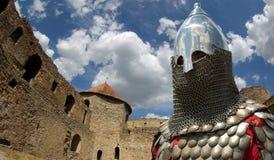 Cavaliere europeo medioevale nel castello fotografia stock