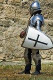 Cavaliere europeo medioevale vicino alla cittadella Fotografia Stock