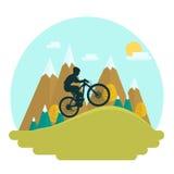 Cavaliere femminile della bici di montagna illustrazione di stock