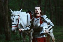 Cavaliere in foresta immagine stock libera da diritti