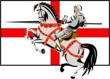 Cavaliere inglese Lance Horse England Flag Side retro Fotografia Stock Libera da Diritti
