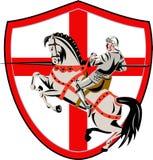 Cavaliere inglese Rider Horse England Flag Retro Immagini Stock Libere da Diritti