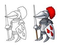 Cavaliere medievale del fumetto con lo schermo e la lancia, isolati su fondo bianco immagini stock