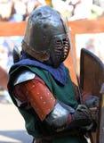 Cavaliere medievale prima della battaglia Ritratto Fotografia Stock