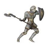 Cavaliere medievale su bianco Fotografie Stock Libere da Diritti
