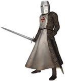 Cavaliere medioevale in anticipo di Templar Immagini Stock