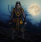 Cavaliere medioevale in armatura piena all'aperto alla notte Fotografie Stock Libere da Diritti