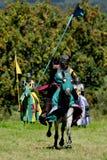 Cavaliere medioevale su a cavallo Immagini Stock