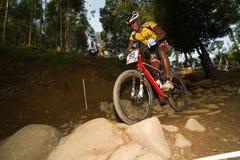 Cavaliere nella tazza di mondo di UCI MTB sopra la sezione rocciosa Fotografia Stock Libera da Diritti