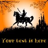 cavaliere nero a cavallo Fotografie Stock