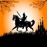 cavaliere nero a cavallo Fotografia Stock