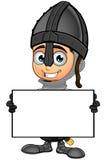 Cavaliere nero del ragazzo - tenere bordo in bianco royalty illustrazione gratis