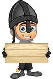Cavaliere nero del ragazzo - tenere segno di legno illustrazione di stock
