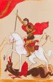 Cavaliere russo in un mantello rosso royalty illustrazione gratis