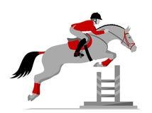 Cavaliere su un salto del cavallo Fotografia Stock