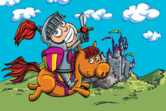 Cavaliere sveglio del fumetto su un cavallo Fotografia Stock