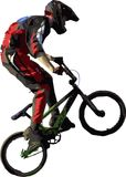 Cavaliere trasversale della bici Fotografie Stock Libere da Diritti