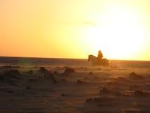 Cavalieri al tramonto Fotografia Stock