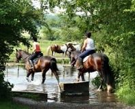 Cavalieri che attraversano un fiume Fotografia Stock Libera da Diritti