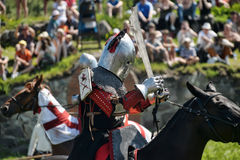 Cavalieri che combattono a cavallo Fotografia Stock