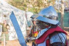 Cavalieri che combattono esecuzione durante Nottingham immagine stock