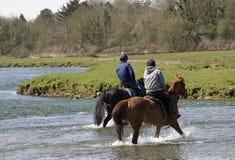 Cavalieri del cavallo che attraversano un fiume in Galles Immagini Stock
