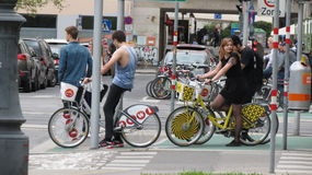 Cavalieri della bicicletta a Vienna Immagini Stock Libere da Diritti