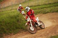 Cavalieri di motocross nel salto Fotografia Stock Libera da Diritti