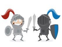 Cavalieri divertenti che combattono faccia a faccia Fotografia Stock